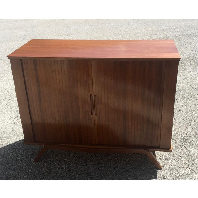 1960 Walnut Cabinet With Roll Doors/Work Station Desk For Sale - Image 4 of 10