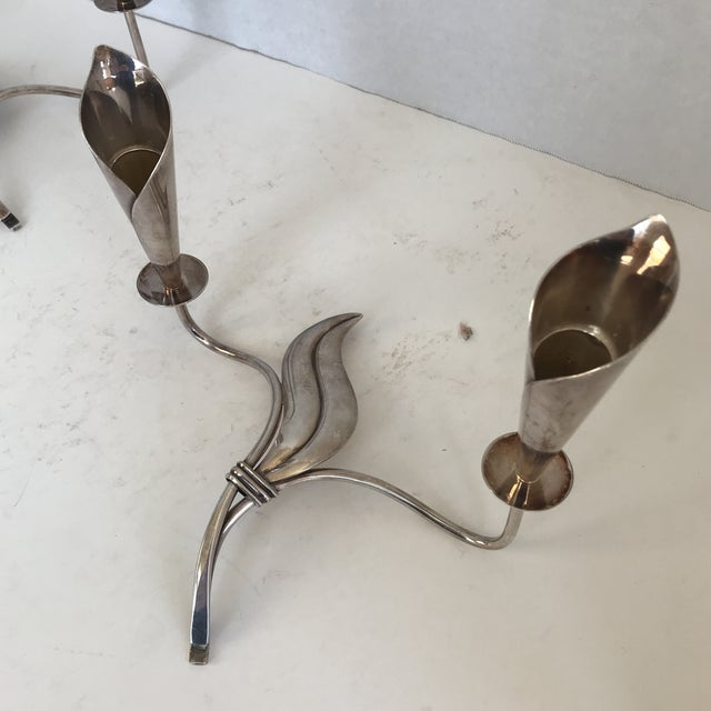 Unique vintage silver leaf form candle stick holders- a pair. Marked Denmark.