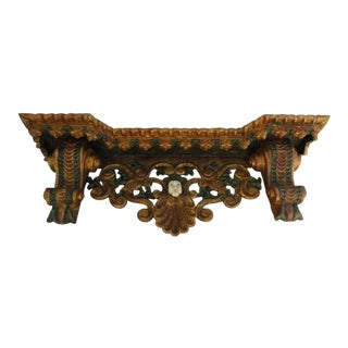 Incredible Large Late 18th C Peruvian Spanish Colonial Shelf With Angels Head Most Likely From a Church
