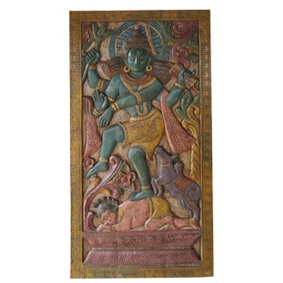 Vintage Indian Hand Carved Shiva Dancing Transformation Energy Natraja Door Panel Wall Relief For Sale