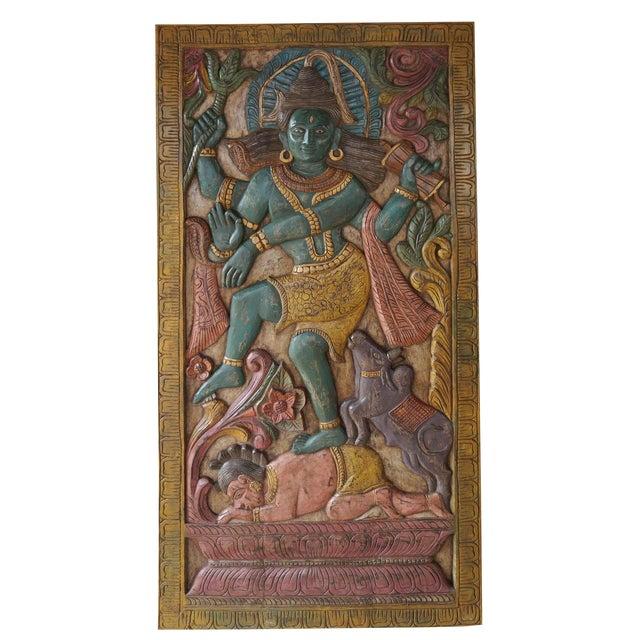 Vintage Indian Hand Carved Shiva Dancing Transformation Energy Natraja Door Panel Wall Relief For Sale