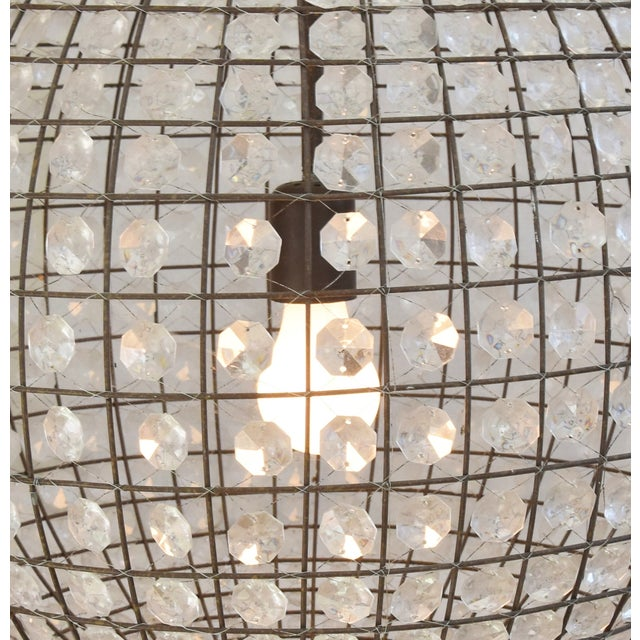 Late 20th Century Late 20th Century Crystal Prism Sphere Ball Chandelier For Sale - Image 5 of 13