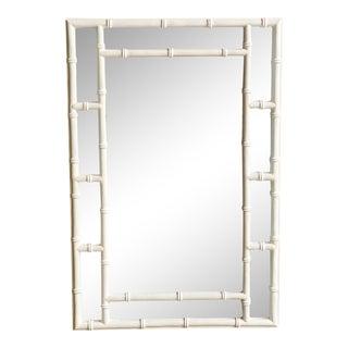 Vintage Coastal Faux White Bamboo Mirror For Sale