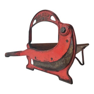 Vintage Danish Country Cast Iron Bread Cutter For Sale