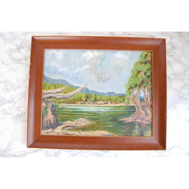 Vintage Lakeside Original Oil on Canvas Painting For Sale - Image 9 of 10