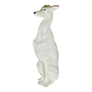 "Vintage Italian Ceramic Whippet Greyhound 28"" Dog Sculpture For Sale"
