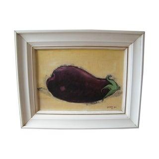 Vintage Still Life Painting Eggplant 1960s