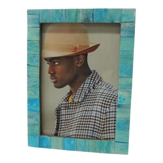 Handcrafted Aqua Picture Frame For Sale