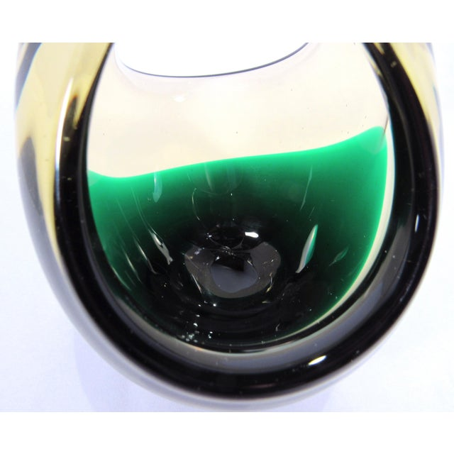 Vintage 1950s Cenedese Hand Blown Amber and Green Art Glass Basket For Sale - Image 9 of 12