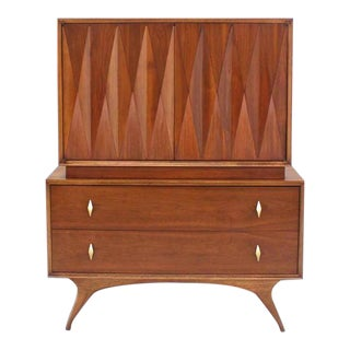 20th Century Danish Modern Diamond Pattern Gentlemen's Chest For Sale