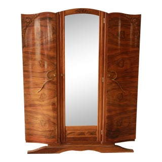 1930s French Art Deco Mirrored Wardrobe For Sale