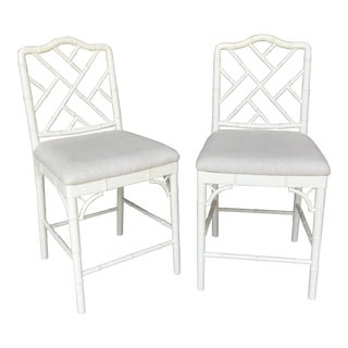 20th Century Rustic Cream Bamboo Hightop Chairs - a Pair For Sale
