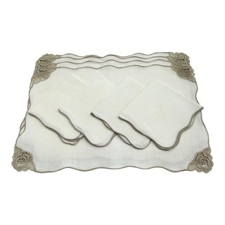 Vintage Ecru and White Linen and Lace Placemats and Napkins, Set/4 For Sale