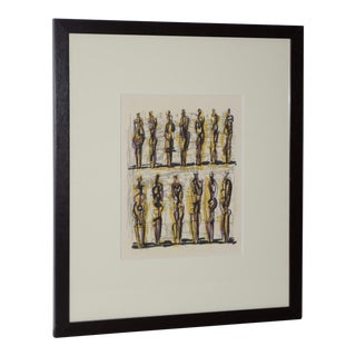 """1958 Henry Moore """"Thirteen Standing Figures"""" Original Lithograph For Sale"""