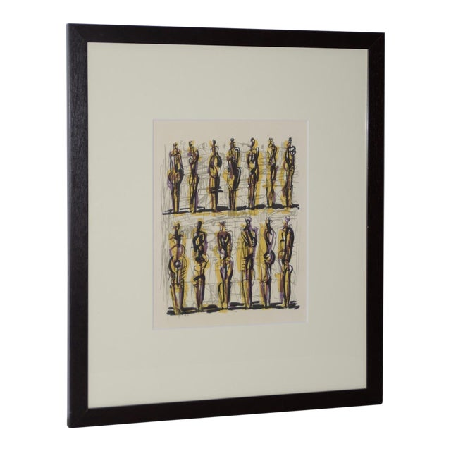 "1958 Henry Moore ""Thirteen Standing Figures"" Original Lithograph For Sale"