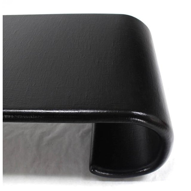 Mid 20th Century Mid-Century Modern Black Lacquer Scroll Coffee Table For Sale - Image 5 of 8