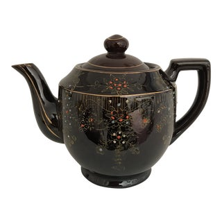1950s Vintage Japanese Hand Painted Brown Tea Pot For Sale