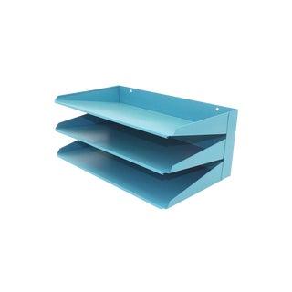 1960s Teal Blue Metal Desk Organizer For Sale