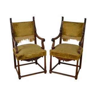 Antique 19th Century Pair of Carved Walnut Arm Chairs For Sale