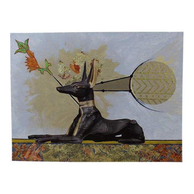 "Original Collage Painting - ""Anubis"" by Carl M. George For Sale"
