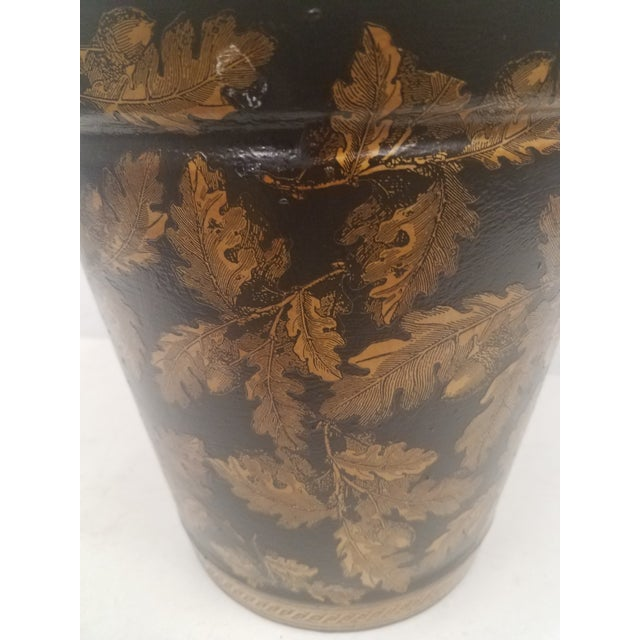 English Antique Bucket / Pail With Decoupage Leaves - Found in Southern England For Sale In Dallas - Image 6 of 12