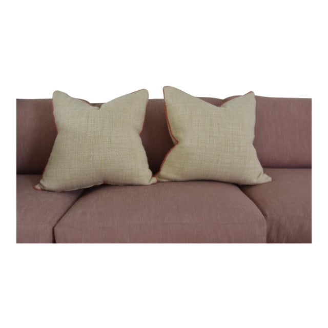 Neutral & Coral Cord Pillow Covers - a Pair - Image 7 of 7