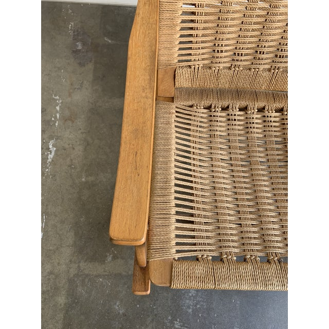 Wood Mid Century Rope Rocking Chair For Sale - Image 7 of 13