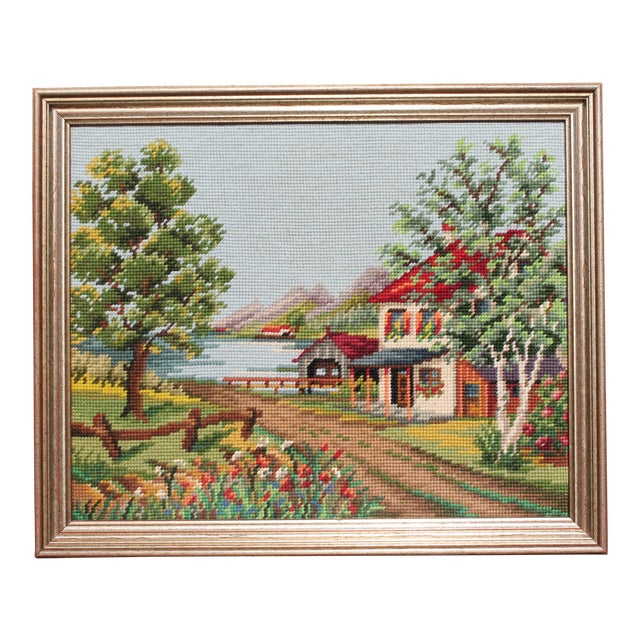 Vintage Framed Country Home Needlepoint For Sale