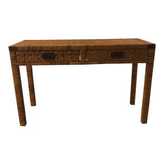 20th Century Boho Chic Rattan Wrapped Console For Sale