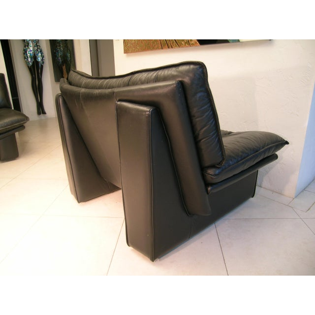 1970s Nicoletti Salotti Italian Mid Century Modern Black Leather Lounge Chair For Sale - Image 5 of 13