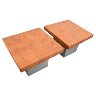 Milo Baughman Burl Wood and Chrome End Tables, Usa, 1960s For Sale