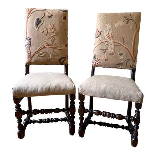 Mid 17th Century Walnut Franco Flemish Louis XIII Baroque Fireside Chairs - a Pair For Sale