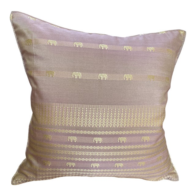 Contemporary Pink Thai Silk Pillow With Elephant Motifs For Sale