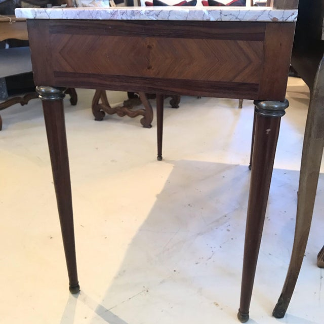 Brown Early 20th Century French Louis XVI Style Marble Top Dressing Table or Vanity For Sale - Image 8 of 12
