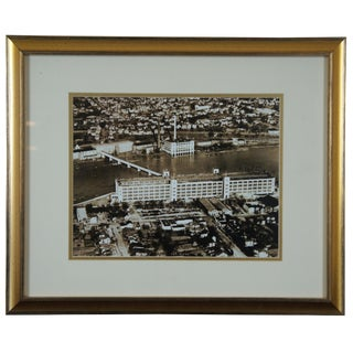 Mid-Century Photograph Aerial View Dan River Inc. Warehouse Virginia, 1940s For Sale
