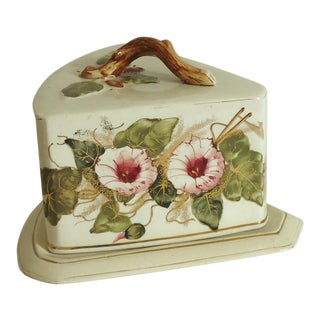 Large Antique Cheese Keeper W Morning Glories
