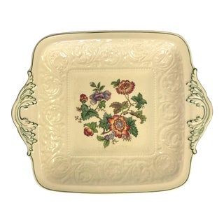 Vintage Wedgewood Patrician Tapestry Collection Square Handled Cake Plate For Sale
