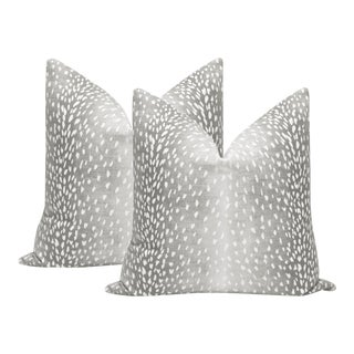 "22"" Gray Antelope Linen Print Pillows - a Pair For Sale"