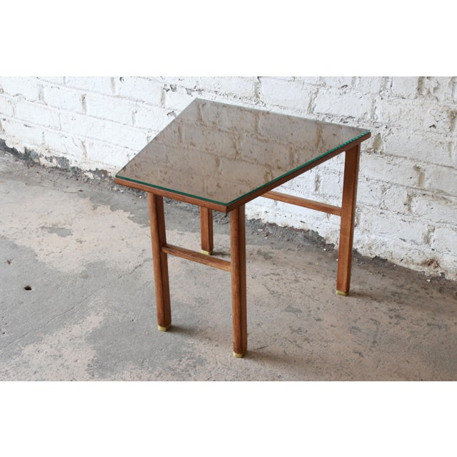 Edward Wormley for Dunbar Walnut Cantilever Wedge End Table, 1950s For Sale - Image 11 of 13