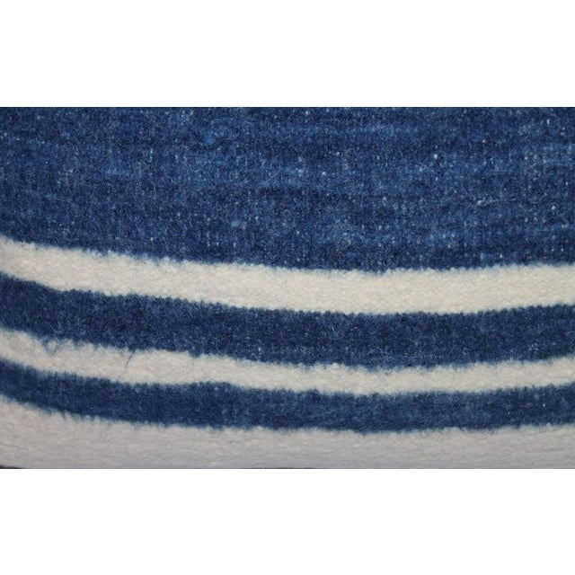 Early 20th Century Set of Four Indigo and White Striped Alpaca Bolster Pillows For Sale - Image 5 of 6
