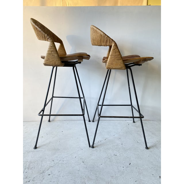 Vintage Arthur Umanoff Iron Wicker Back Counter Height Barstools- A Pair For Sale - Image 6 of 11