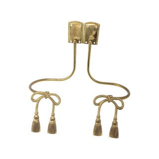 Vintage Brass Drape Tie Backs With Bows and Tassels - Set of 2 For Sale
