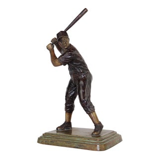 Pasargad DC Solid Cast Verdigris Baseball Figure For Sale