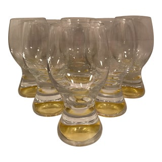 Large 1970s Yellow Beer Glasses - Set of 6 For Sale