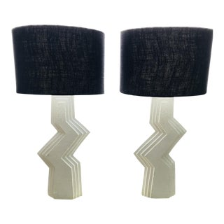 Sculptural Plaster Lamps - A Pair For Sale