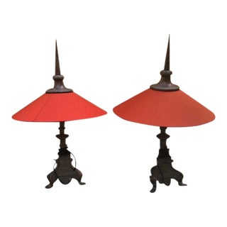 Vintage Table Lamps With Red Shades - a Pair For Sale