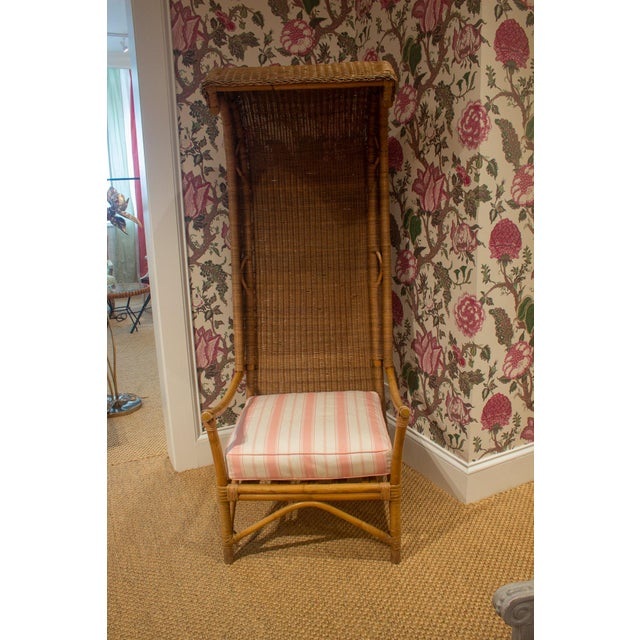 Wicker Late 20th Century Wicker and Bamboo Canopy Chair For Sale - Image 7 of 7