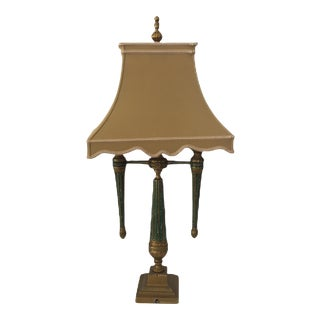 Chelsea House French Empire Bouillotte Brass Double Arm Candlestick Table Lamp For Sale