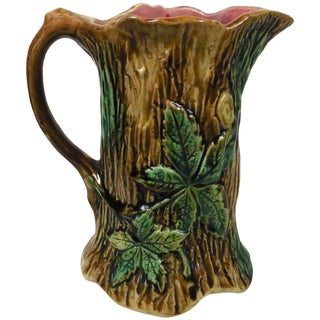 1900s French Country Majolica Trunk and Leaves Pitcher For Sale