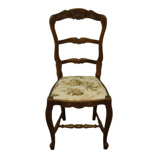Vintage Walnut Louis XVI French Provincial Dining Side Chair For Sale